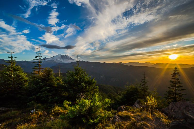 Mt. rainier sunset panorama 203-0318