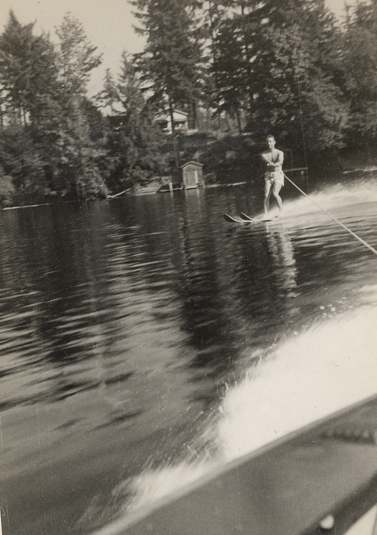 047 Jack Sperry Waterskiing on Lake Sawyer with home made skis--September 19, 1948