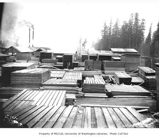 11 lake sawyer sawmill stacked lumber 1928