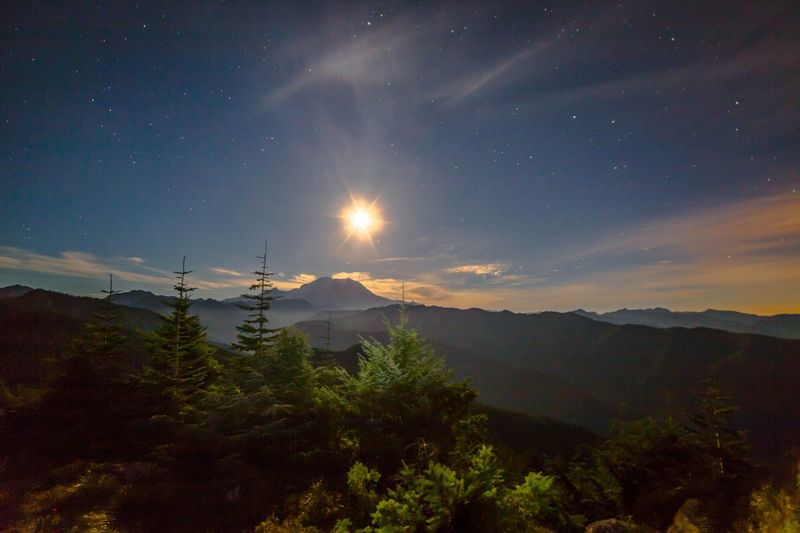 Moon lit mountain silhouette 10-0483