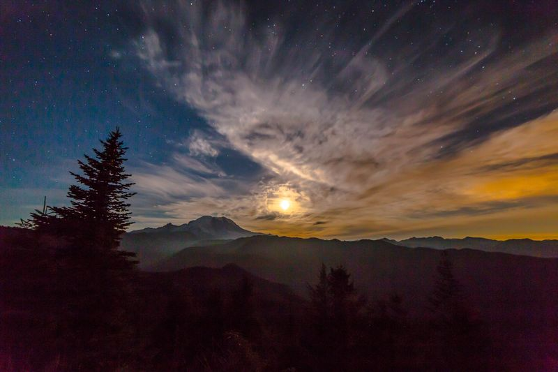 Moon lit mountain silhouette 106-0636