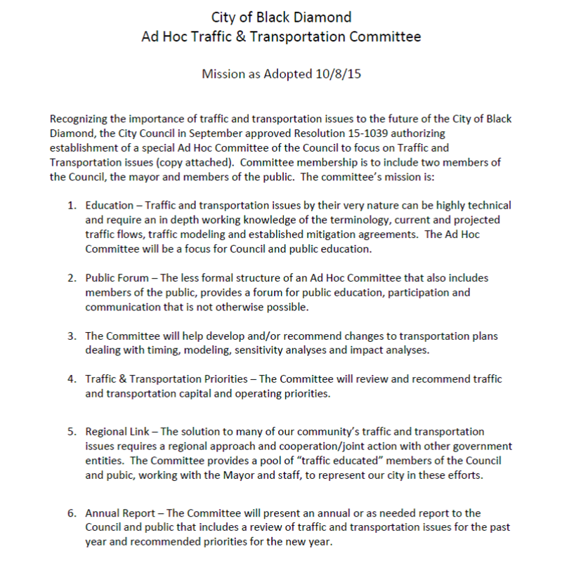 Traffic Committee Mission