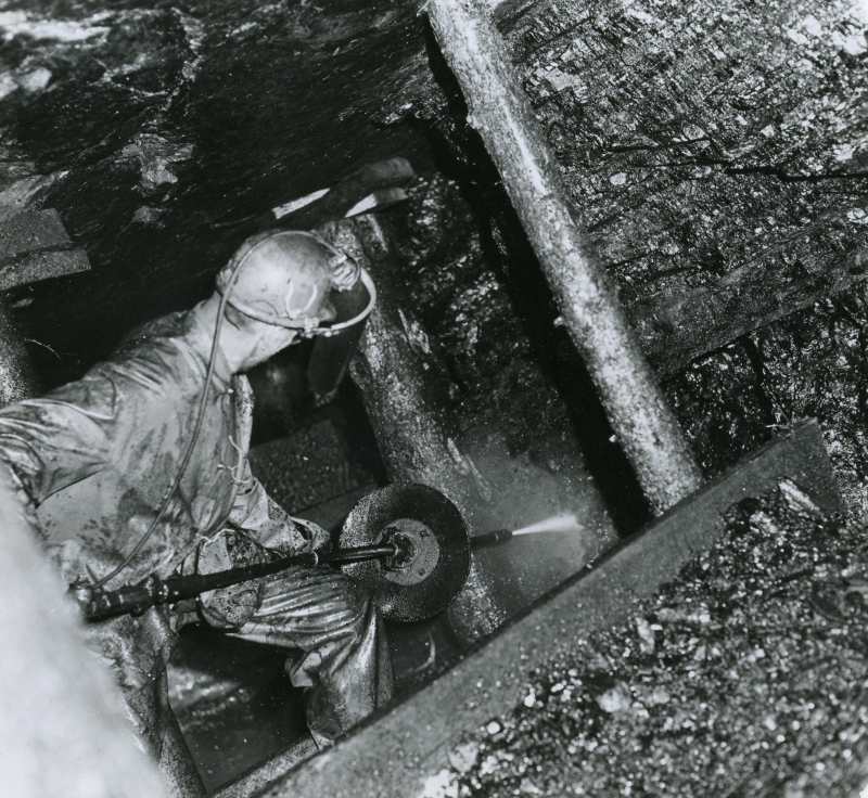 Coal miner at work