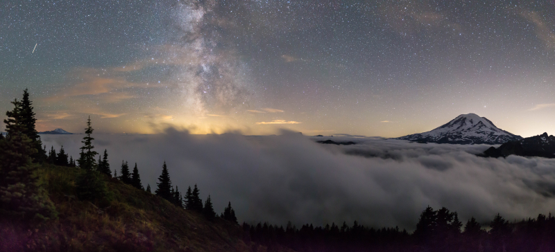 Milky Way Clouds Mtn Panorama 3