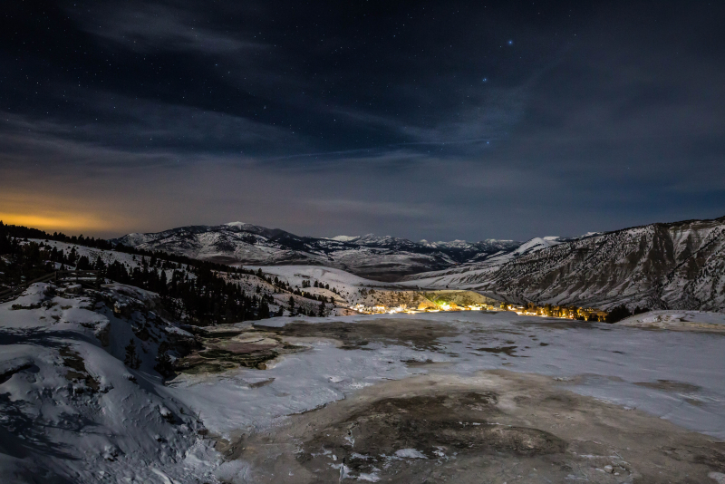 Mammoth Hot Springs Under the Stars