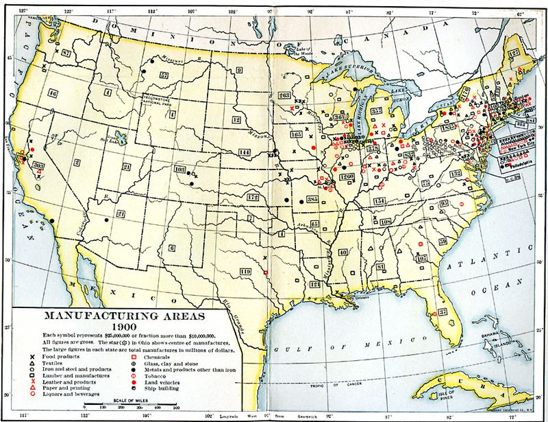 Map of manufacturing areas 1900