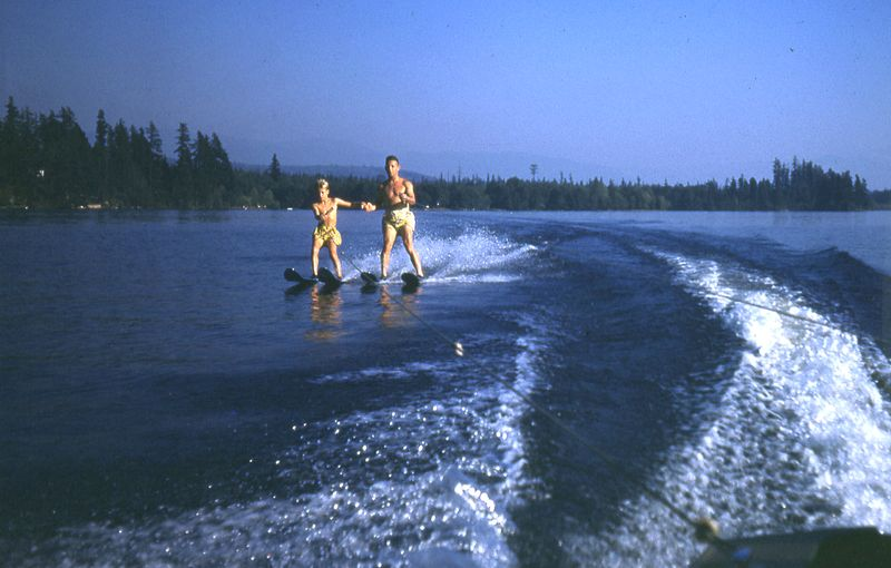 66A Jack Sperry & son Jack Jr. waterski together, About 1955