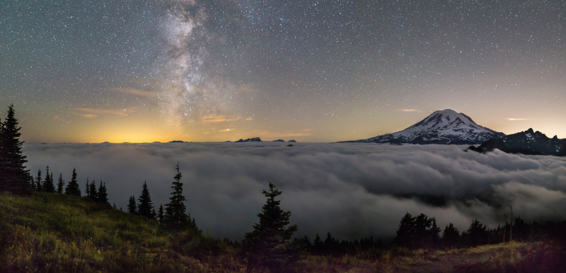 Milky Way Clouds Mtn Panorama 5