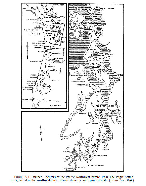 Lumber centers in pnw before 1900