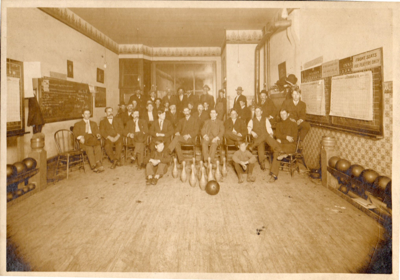 First-Kent-Bowling-Alley-1900-Emil-Nelson-3rd-from-right