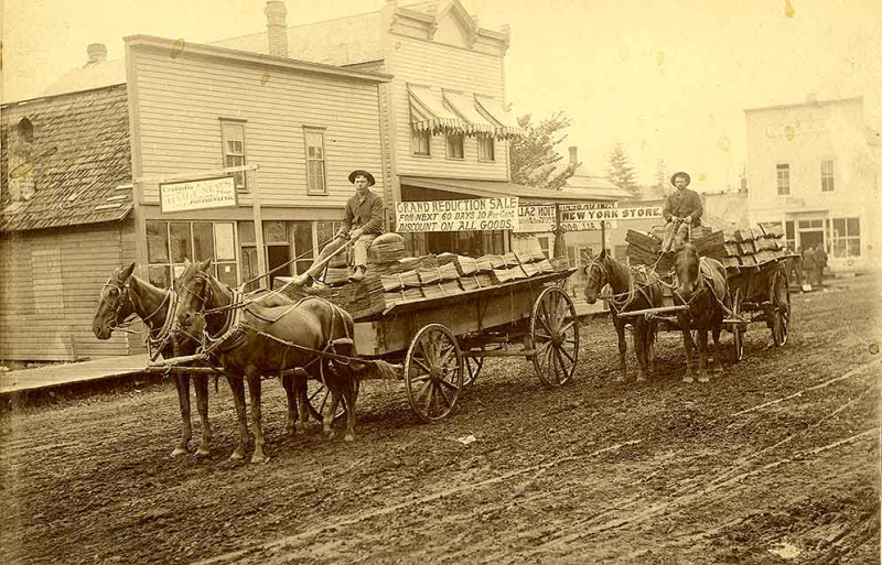 Shingles being transported by wagon